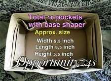 BEIGE BAG ORGANIZER PURSE FOR PM 25 BASE SHAPER INSERT LINER SIZE 5.5x9.5 x5.5W
