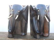 Sculpture en bois éléphants Serre-livres