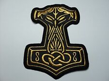 THOR HAMMER  GOLD    EMBROIDERED PATCH