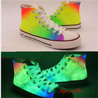Women High top Sport Sneakers Canvas Noctilucent Colorful Lace Up Shoe Size New