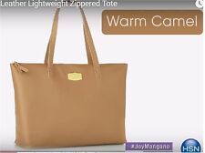 As seen on TV! JOY Couture Genuine Leather Lightweight Tote Warm Camel - Abx1-E