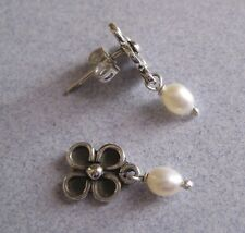 Mexico 925 Silver Taxco Cute Oxidized FLOWER Dangling White Pearl Small Earrings