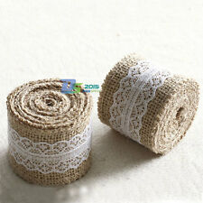 5cm x 2m Wedding Party Lace Burlap Garland Hessian Ribbon Roll Rustic Decoration