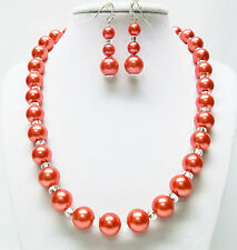 Darice Red Glass Pearl with Czech 4/10 Glass E-Beads Necklace and Earrings Set