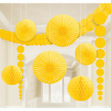 9 x Yellow Hanging Paper Party Decorations Fans Honeycombs Easter Hawaiian Decor