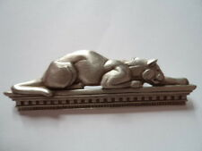 "Vintage Signed JJ  ""Silver pewter Art Deco Panther on Ledge"" Brooch/Pin"