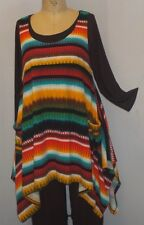Plus Size Top Coco Juan Lagenlook Layering Tunic Serape Stripe Knit 3X 4X B60""