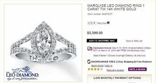 LEO 1.00 BRIDAL (SI2/F) Marquise Diamond Engagement Ring CERTIFIED $6K+
