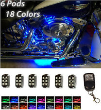 Harley Davidson Fatboy Softail Remote LED Neon Underbody Accent Lights 6 Pod Kit