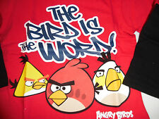 Angry Birds 100% Cotton Long Sleeve T Tee Shirt Toddler Boys 4T Red N Blue Black
