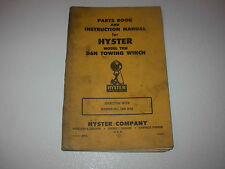 Hyster D6N Towing Winch Parts & Instruction Manual , Hyster TRN