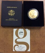 {BJStamps}  2007-W unc $50 GOLD EAGLE 1 ozt .9999 Burnished Die in box & COA