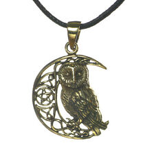 New Bronze Owl Moon Pentagram Star Pendant Cord Necklace Lisa Parker