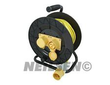 110V 25m Meter Extension Lead Reel with Two Outlet Cable Power Sockets NEW