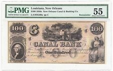 1850s New Orleans Canal Bank Louisiana $100 Bank Note LA105G60a - PMG AU 55