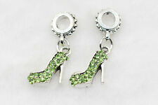 2pcs Green CZ high heel dangle Silver Charm Bead Fit 925 Necklace Bracelet Chain