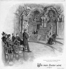 Breslau, Wrocław, Polen, Promotion in  Universität, Original-Holzstich ca. 1890