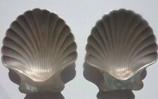 Pair Tiffany & Co Makers Sterling Silver Shell Footed Dish