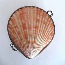 "Vintage Scallop Sea Shell Clam Compact Keepsake Case. Approx. 3"" Long"