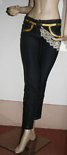 Pantalone donna nero con inserti in pizzo e oro tg xs s 40/42 made in italy