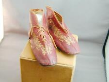 RARE Red Victorian Leather Lace Up Childs Shoes Boots Gold Decor Cherubs