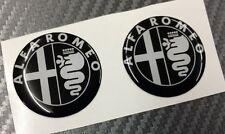 2 Adesivi Stickers ALFA ROMEO Nero e Bianco 50 mm 3D resinati auto
