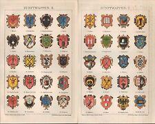 Chromo-Lithografie 1895: ZUNFTWAPPEN. I/II. Maurer Dachdecker Schornsteinfeger