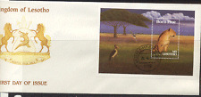 Lesotho 1991 BORN FREE/Lioness/Cat/Bird m/s FDC n17462