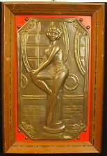 Danseuse sur plaque de bronze par F Bar 1960 Entre'acte  dancer Pin-up modèl