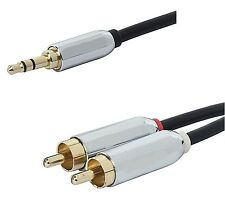 6 FT 3.5 mm Aux Cable Plug to 2-RCA L R Jacks Audio Auxiliary Gold Plated 6'