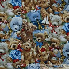 BonEful Fabric FQ Cotton Quilt Brown Gold Red Blue Teddy Bear Baby Boy Sail Boat