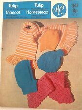 Vintage M&C Hat and Scarf Knitting/Crochet Pattern - head size 18-22inches