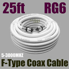 RG6 F White 25 FT Coax Coaxial  Satellite HDTV  Antenna Cable  VCR CAMERA New