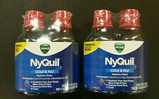 (2)Vicks NyQuil Cold and Flu Nighttime Relief Cherry Liquid Twin Pack, 4 x 12 oz