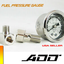 ADD W1 Fuel Pressure Regulator gauge 0 -70 PSI Liquid Fill chrome  #0-70