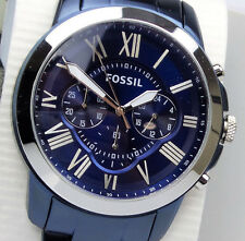 FOSSIL GRANT FS5230 Men's Blue Dial Stainless Strap Chronograph Watch $175 NEW