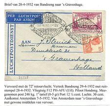 NED INDIE  1932-4-28   FLIGHT CV  BANDOENG-- s- GRAVENHAGE   F/VF