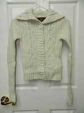 HOLLISTER juniors Ivory Wool Blend Cable Knit Cardigan Sweater* Small S