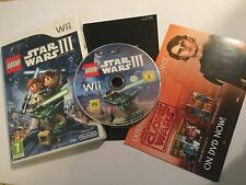 NINTENDO Wii VIDEO GAME VIDEOGAME LEGO STAR WARS III THE CLONE WARS COMPLETE PAL