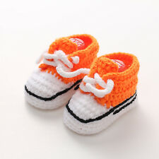 Orange Baby Infant Boy Girl Crochet Knit Socks Crib Shoes Sandal Slippers 0-6M