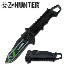 ZOMBIE SPRING ASSISTED TACTICAL CHAINSAW POCKET  KNIFE WITH ALUM HANDLE - BK/GR