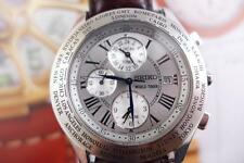 Rare and hard to find, Classy 44mm 5T82 0AB0 Seiko World Timer Quartz