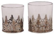 1 Teelichthalter li im Bild Glas Metall Orient Shabby Vintage Handarbeit