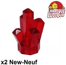 Lego - 2x rock rocher crystal cristal diamant rouge trans red 52 NEUF