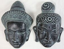 Vintage Lifesize Buddha Mask Asian Wall Bust Pair Pottery Ceramic Sculpture