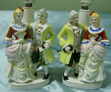 X2 Porcelain Colonial Victorian Courting Couple Lady Man Table Boudoir Lamp Set