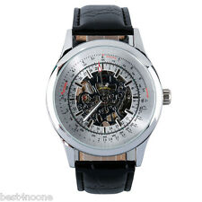 Forsining New Retro Mechanical Wrist Watch Leather Band Stainless Steel Case
