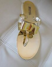 New Michael Kors Kayden Bow Thong Jelly Sandals Gold Size 8M*