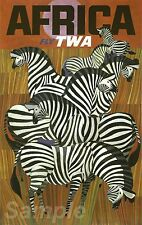 VINTAGE AFRICA TWA TRAVEL A4 POSTER PRINT