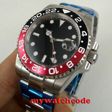 40mm parnis black sterile dial GMT sapphire glass date automatic mens watch P443